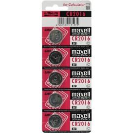 MAXELL Pile Bouton Lithium - CR2016 Standard - BATLI07 - Carte de 5